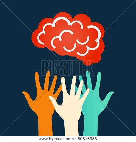 Hands reaching for the brain. Vector design