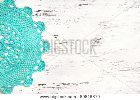 Crochet Doily Border Over Shabby Chic Wood