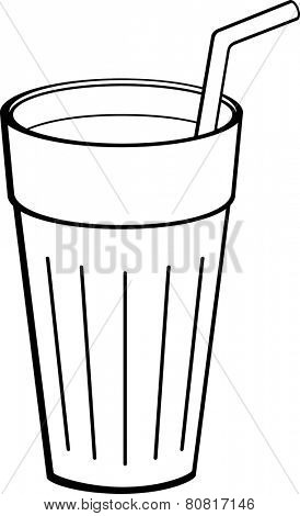 beverage glass with drinking straw