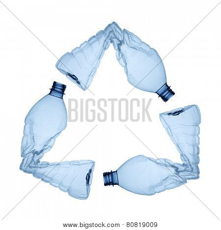 three blue plastic bottles forming the symbol of recycling