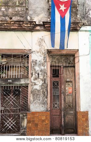 Cuban Flag in Shabby House