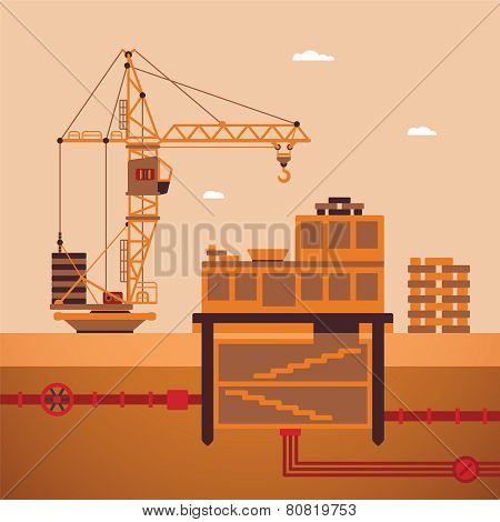 Vector Concept Of Residential House Construction Process
