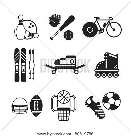 Set Of Vector Monochrome Sports Icons In Flat Style