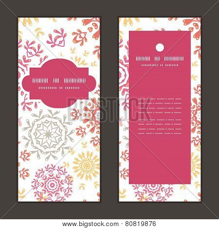 Vector folk floral circles abstract vertical frame pattern invitation greeting cards set