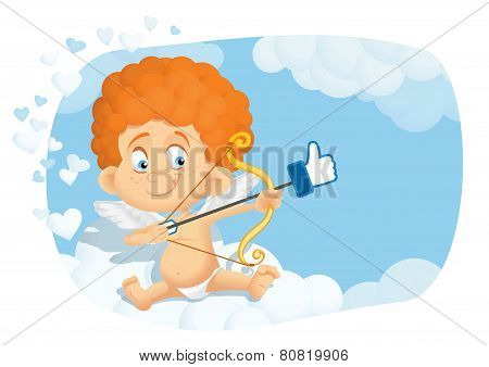 Cute Cupid Cartoon in Internet Online Dating Concept Vector