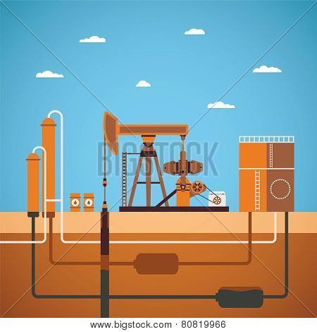 Vector Concept Of Equipped Oil Well
