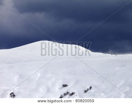Off-piste Slope And Storm Gray Sky In Bad Weather Day