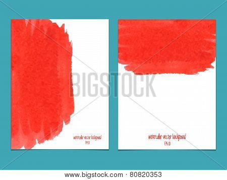 Vector Background With Watercolor Red.