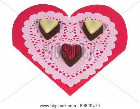 Bonbon hearts on a filigree paper