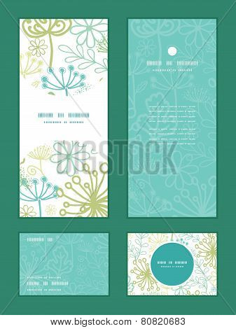 Vector mysterious green garden vertical frame pattern invitation greeting, RSVP and thank you cards