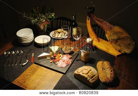 Spanish festive gourmet table