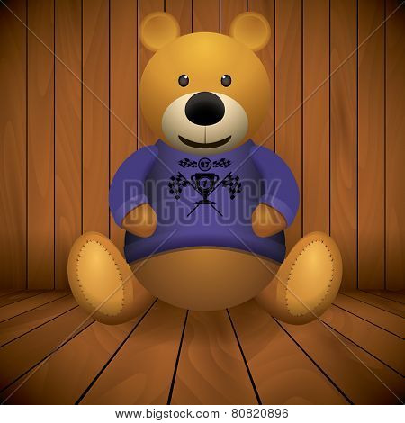 Teddy Bear Brown Stuffed Toy Print On Chest Wooden Background