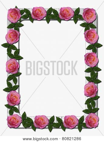 Pink and Peach Roses on White Wooden Frame