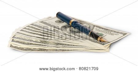 Hundred Dollar Bills And Pen