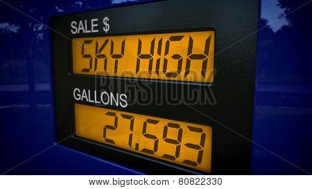 Conceptual gas pump display showing Sky High gas price