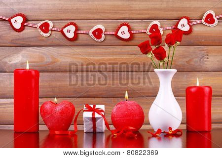 Burning candles for Valentine Day, weddings, events involving love