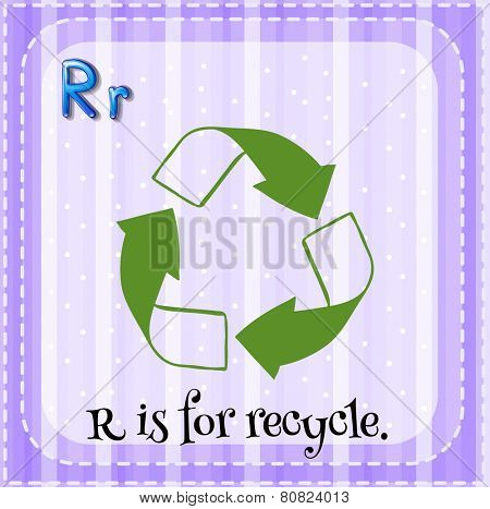 Illustration of a letter R is for recycle