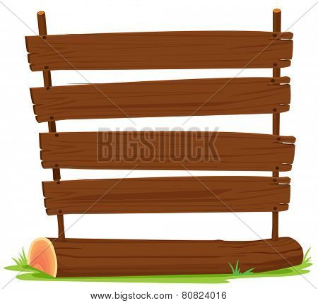 Illustration of wooden signs on a log