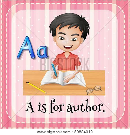 Illustration of a letter A is for author