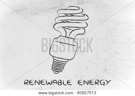 Eco Lightbulb, Compact Fluorescent Bulb, For Energy Consumption Saving