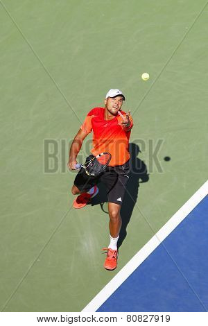 Professional tennis player Jo-Wilfried Tsonga during US Open 2014 round 2 match