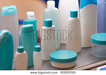 Plastic Cosmetic Containers, Selective Focus