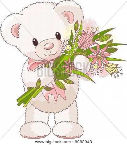 Teddy bear with bouquet