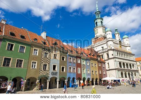 Poznan, Poland - August 20: The Colorful Main Square And Town Hall In Poznan On August 20, 2014 In P