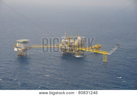 Oil and gas platform or construction in the gulf. Offshore platform for production oil and gas.