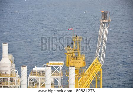 Oil and gas platform or construction in the gulf. Offshore platform for production oil and gas