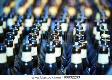 Close Up Of Many Bottles Of Beer