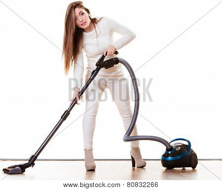Funny Girl With Vacuum Cleaner Isolated