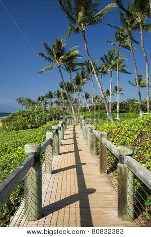 Board walk beside beach in Wailea, Maui, Hawaii, USA