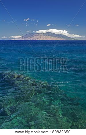 Reef in clear water with view of West Maui Mountains from south shore. Maui, Hawaii, USA