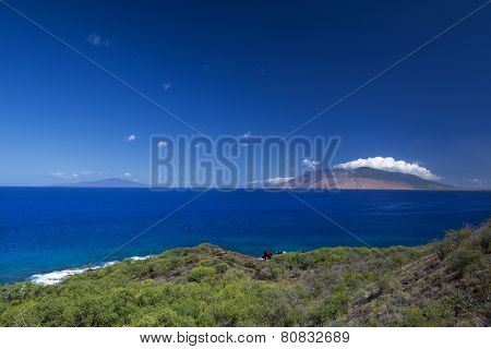 View of West Maui Mountains from south shore. Maui, Hawaii, USA