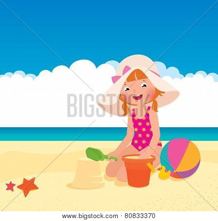 Girl Playing On The Beach