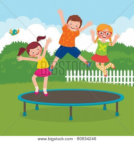 Children Jumping On The Trampoline