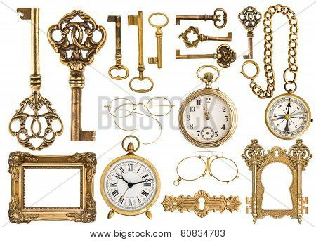 Golden Antique Accessories. Baroque Frame, Vintage Keys, Clock