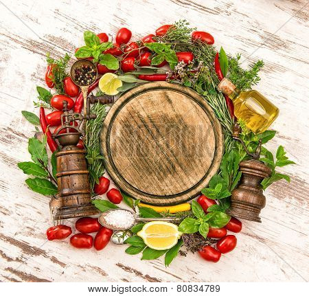 Fresh Vegetables, Spices And Herbs. Food Ingredients