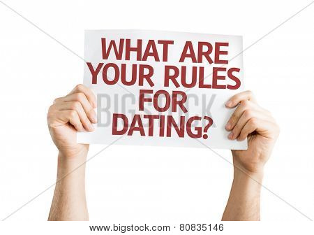 What are your Rules for Dating? card isolated on white background