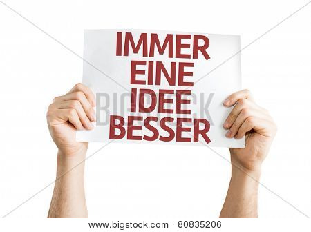 Getting a Better Idea (in German) card isolated on white background