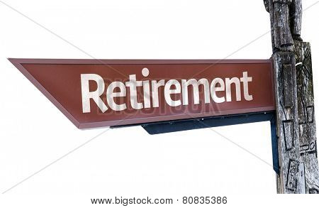 Retirement wooden sign isolated on white background