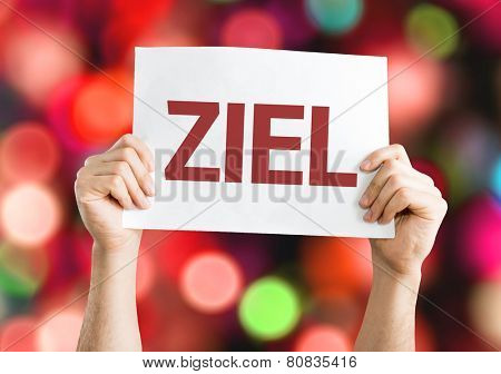 Target (in German) card with colorful background with defocused lights