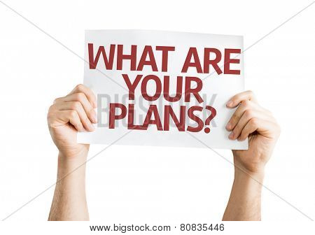 What are Your Plans? card isolated on white background