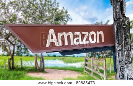 Amazon wooden sign with rural background