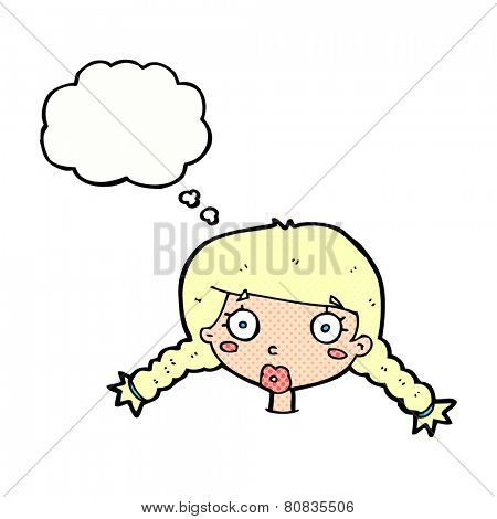 cartoon confused female face with thought bubble