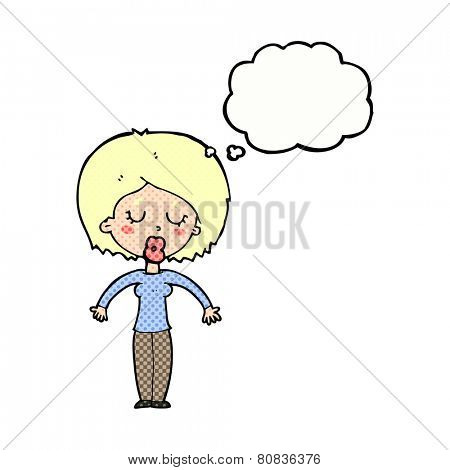 cartoon woman with closed eyes with thought bubble