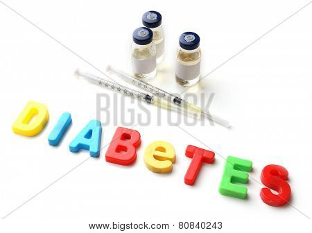 Injections and word Diabetes from colorful letters isolated on white
