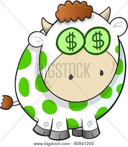Cash Cow Vector Illustration Art