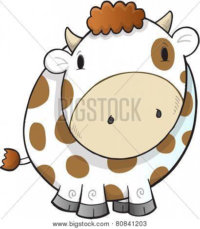 Cute Farm Cow Vector Illustration Art